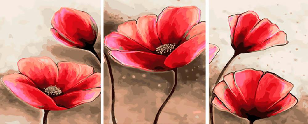 Купить Картина по номерам «Алые маки», Paintboy (Premium), Китай, 3 шт. 40x50 см, PX5185