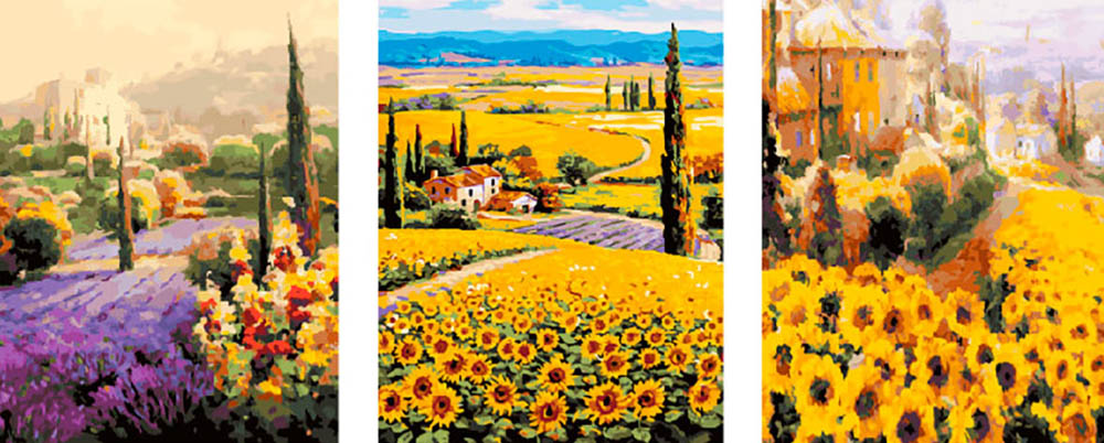 Купить Картина по номерам «Цветочные поля», Paintboy (Premium), Китай, 3 шт. 40x50 см, PX5260