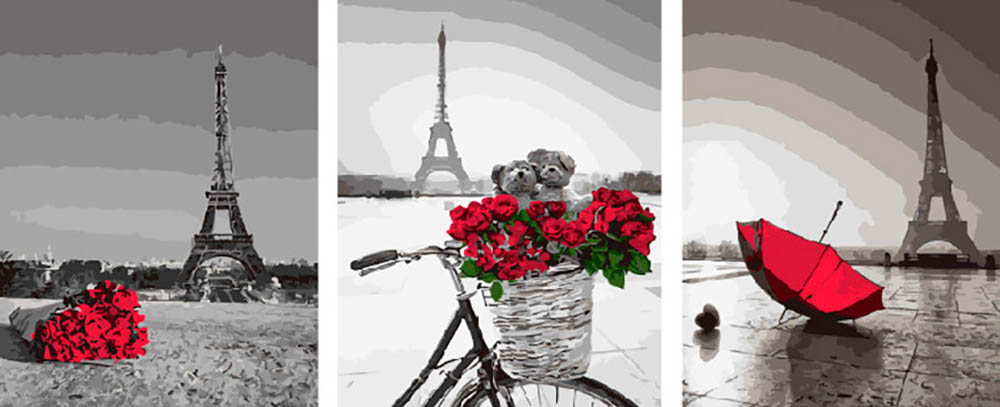 Купить Картина по номерам «Романтика Парижа», Paintboy (Premium), Китай, 3 шт. 40x50 см, PX5273
