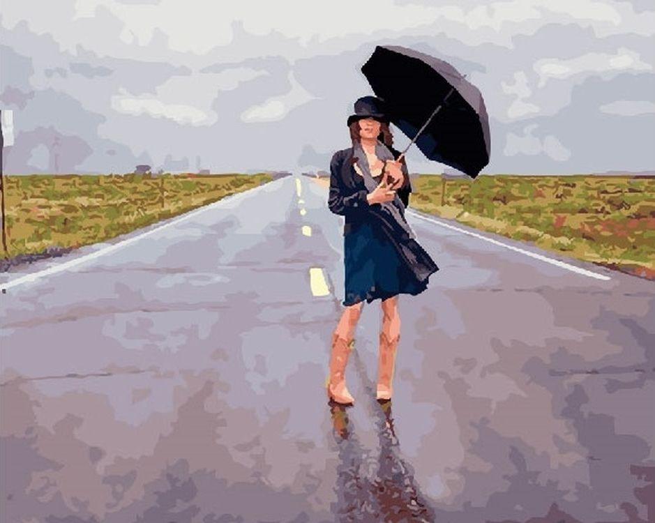 Купить Картина по номерам «Девушка под зонтом», Paintboy (Premium), RDG-1705