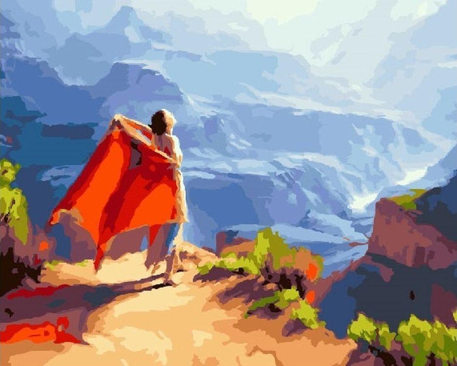 Купить Картина по номерам «Девушка и горы», Paintboy (Premium), RDG-1753