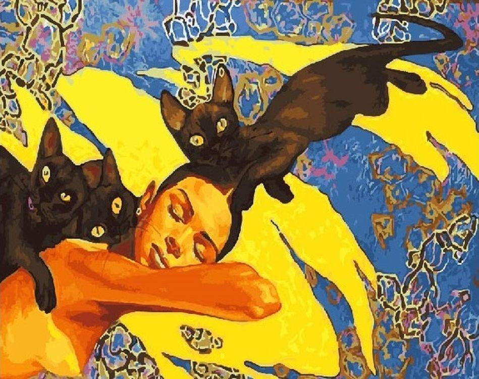 Купить Картина по номерам «Девушка с кошками», Paintboy (Premium), RDG-2018