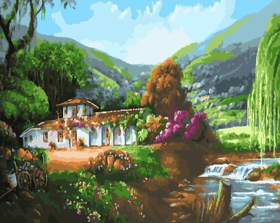Купить Картина по номерам «Дом на природе», Paintboy (Premium), RDG-2068