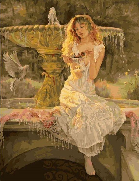 Купить Картина по номерам «Девушка у фонтана», Paintboy (Premium), RDG-2862