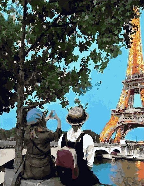 Купить Картина по номерам «Глядя на Эйфелеву башню», Paintboy (Premium), RDG-3064