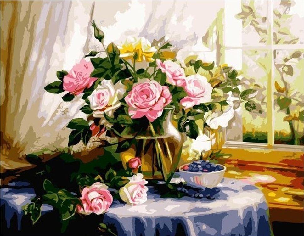 Купить Картина по номерам «Цветы в стеклянной вазе», Paintboy (Premium), VA-0027