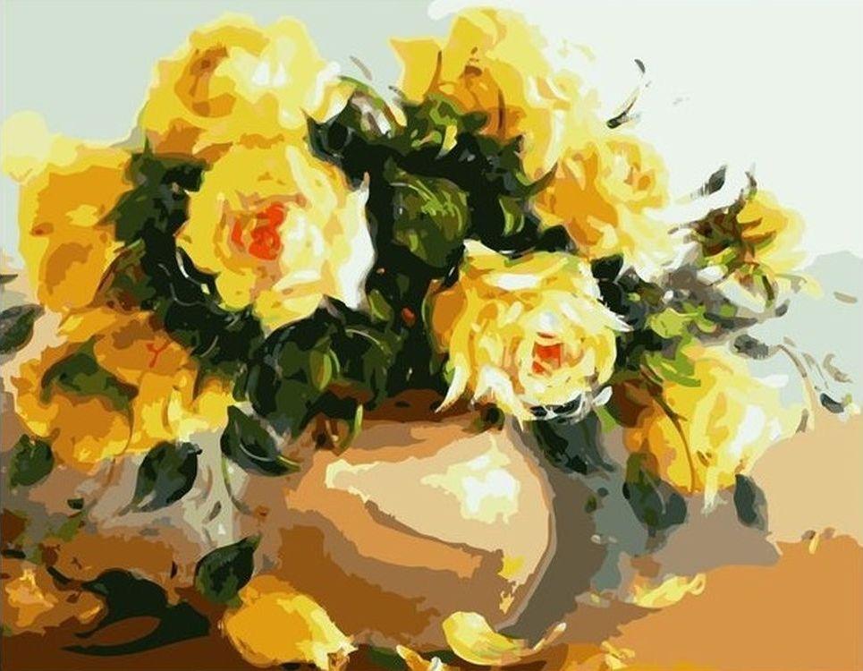 Купить Картина по номерам «Жёлтые цветы в вазе», Paintboy (Premium), VA-0029