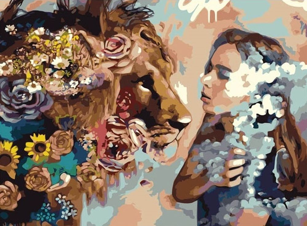 Купить Картина по номерам «Девушка и лев», Paintboy (Premium), VA-0054