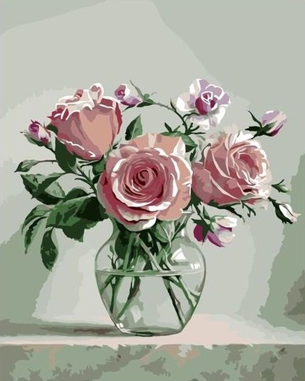 Купить Картина по номерам «Розы в стеклянной вазе», Paintboy (Premium), VA-0294