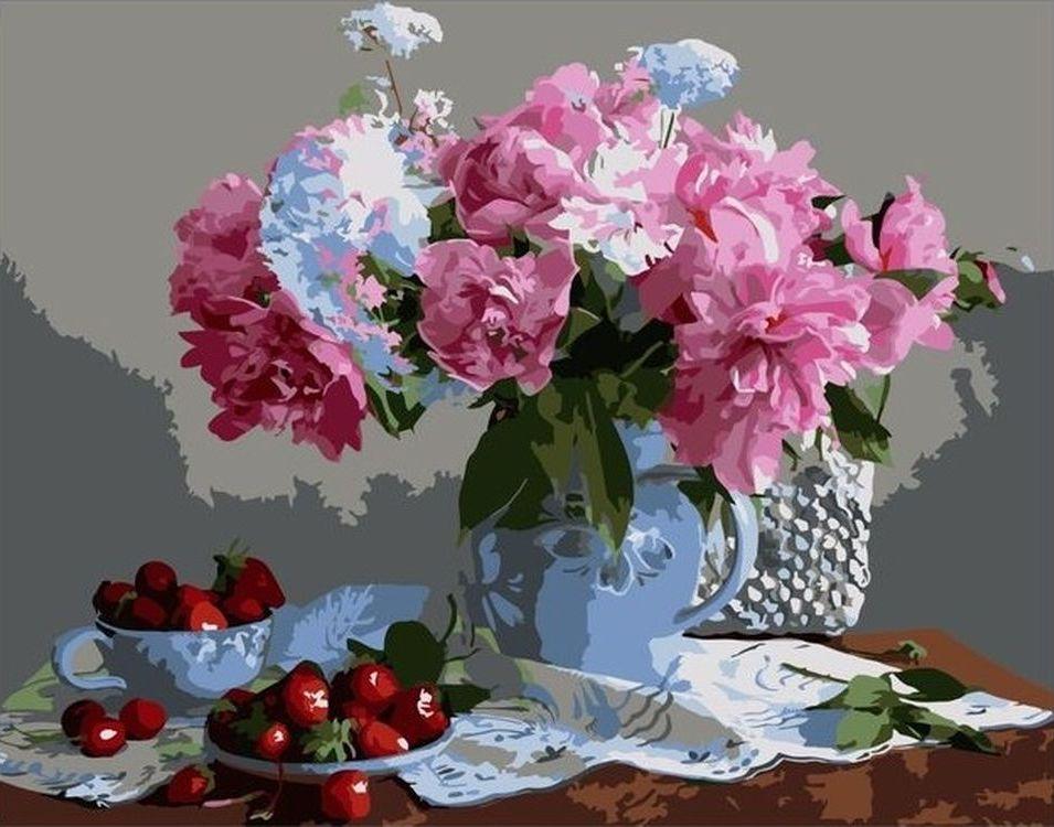 Купить Картина по номерам «Пионы в вазе», Paintboy (Premium), VA-0314