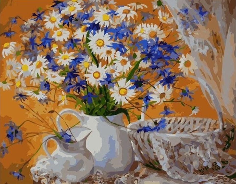 Купить Картина по номерам «Ромашки и васильки в вазе», Paintboy (Premium), VA-0670