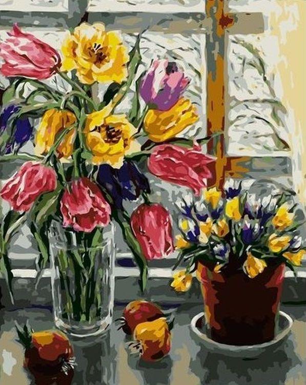 Купить Картина по номерам «Тюльпаны в вазе», Paintboy (Premium), VA-0676