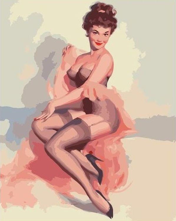Купить Картина по номерам «Девушка в стиле пин-ап», Paintboy (Premium), VA-0707