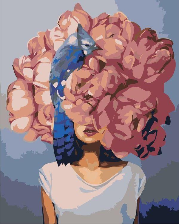Купить Картина по номерам «Цветочная голова 4», Живопись по Номерам, Z-AB227
