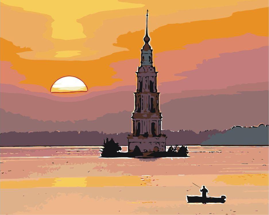 Купить Картина по номерам «Колокольня на закате», Живопись по Номерам, Z10109