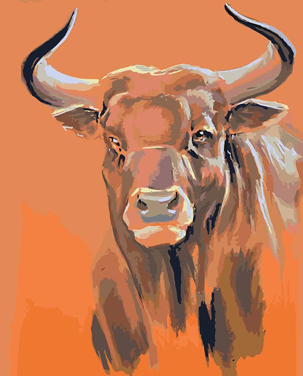 Купить Картина по номерам «Взгляд быка», Живопись по Номерам, Китай, Z101100287