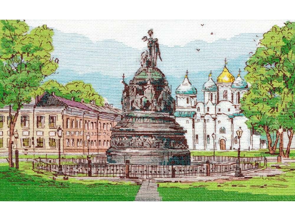 Купить Вышивка крестом, Набор для вышивания «Памятник Тысячелетие России. Великий Новгород», Овен, 29x20 см, 1217