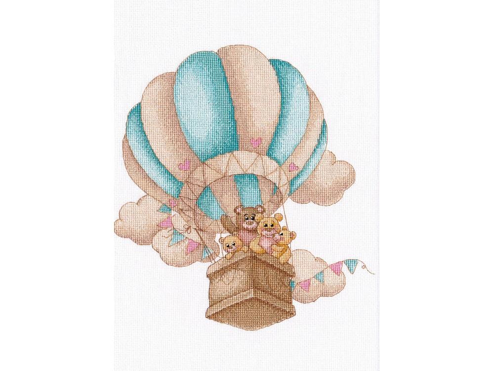 Купить Вышивка крестом, Набор для вышивания «На воздушном шаре», Овен, 24x22 см, 1222