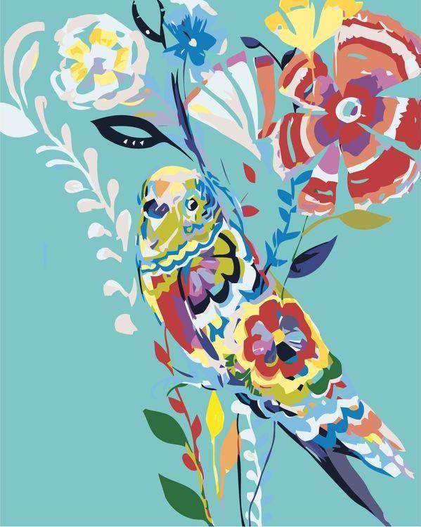 Купить Картина по номерам «Цветочная птица», Живопись по Номерам, A473