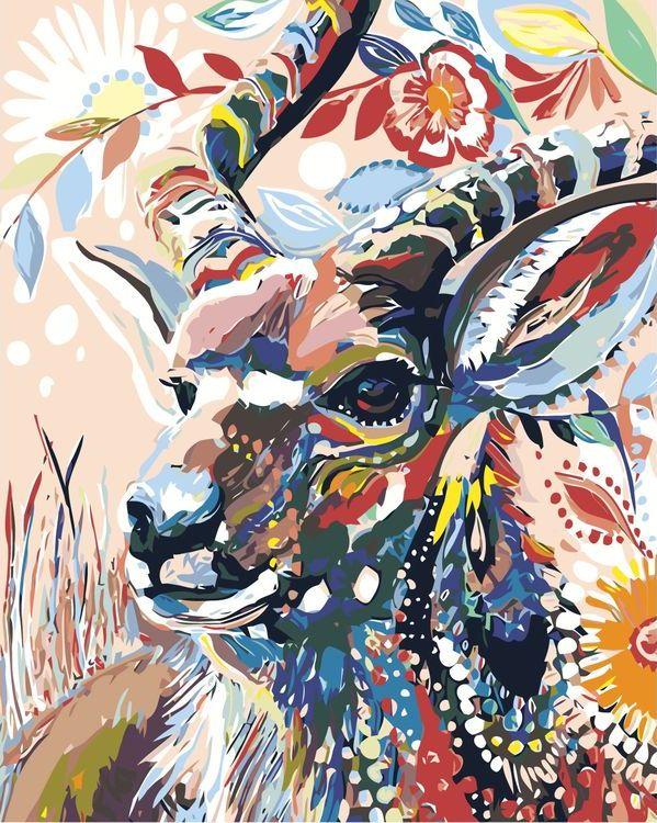 Купить Картина по номерам «Цветочная коза», Живопись по Номерам, A479