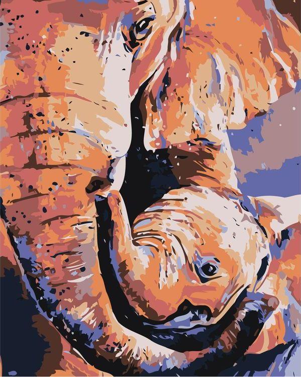 Купить Картина по номерам «Слониха со слонёнком», Живопись по Номерам, A601