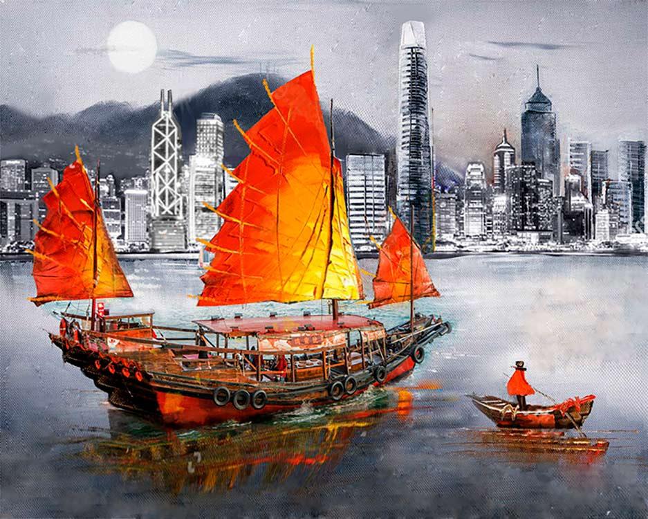 Купить Алмазная вышивка «Гонконг», Алмазное Хобби, Россия, 40x50 см, Ah5323
