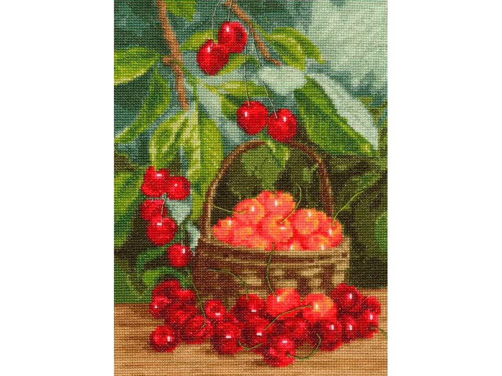 Купить Вышивка крестом, Набор для вышивания «Садовая черешня», Золотое Руно, 27, 5x20 см, ФИ-012