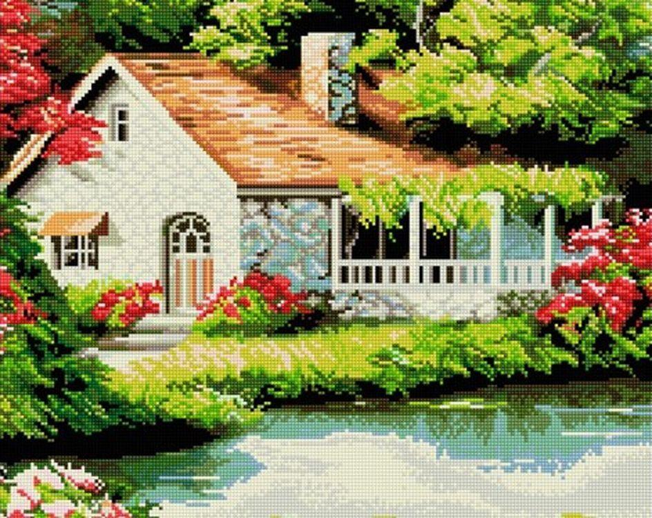 Купить Алмазная вышивка «Домик у озера», Painting Diamond, GF015