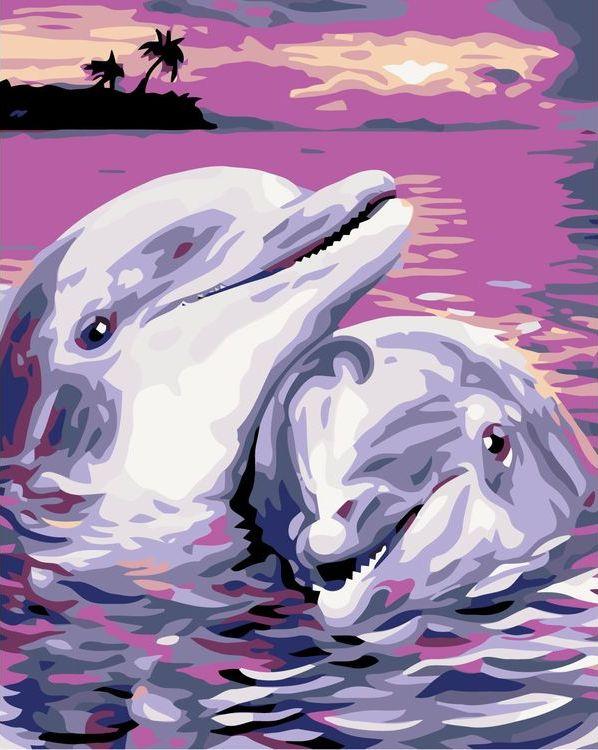 Купить Картина по номерам «Дельфины на закате», Живопись по Номерам, KTMK-132381