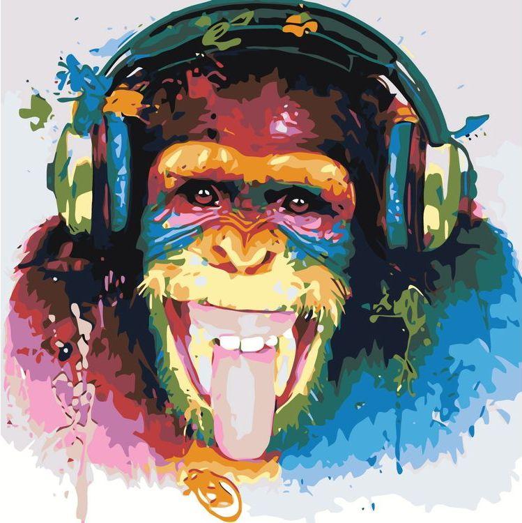 Купить Картина по номерам «Шимпанзе-меломан», Живопись по Номерам, KTMK-32882463387