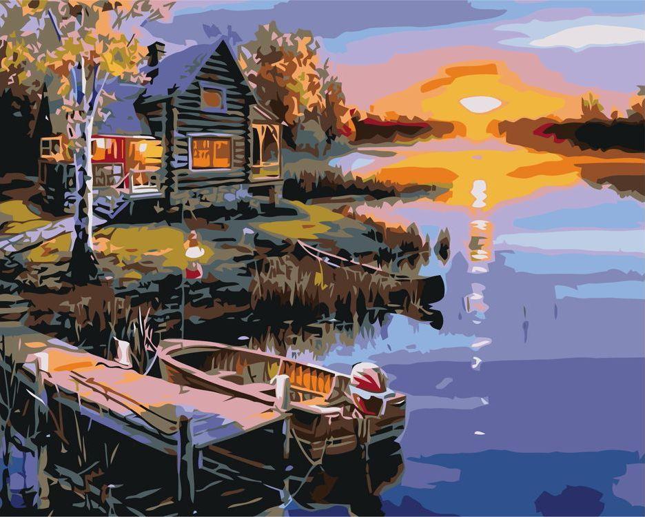 Купить Картина по номерам «Дом у речки на закате», Живопись по Номерам, KTMK-42142