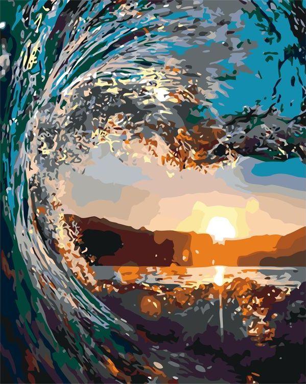 Купить Картина по номерам «Волна на закате», Живопись по Номерам, KTMK-46831
