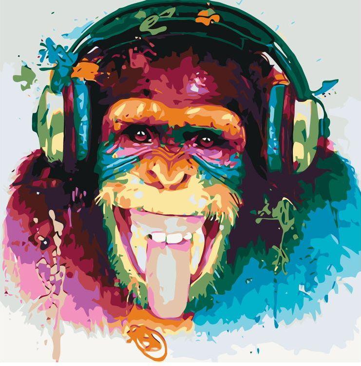 Купить Картина по номерам «Шимпанзе-меломан», Живопись по Номерам, KTMK-63387