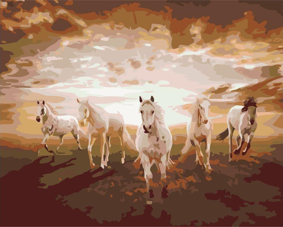 Купить Картина по номерам «Лошади на закате», Живопись по Номерам, KTMK-85105