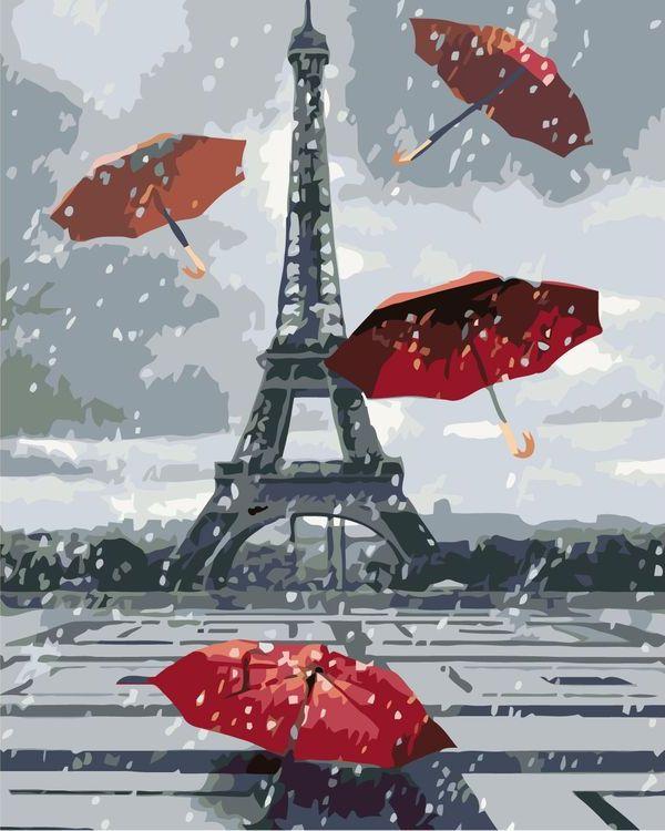 Купить Картина по номерам «Эйфелева башня и зонтики», Живопись по Номерам, KTMK-85496