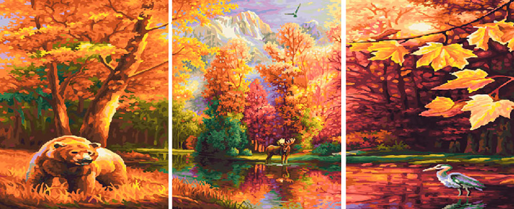 Купить Картина по номерам «Медведь и цапля», Paintboy (Premium), Китай, 3 шт. 40x50 см, PX5205
