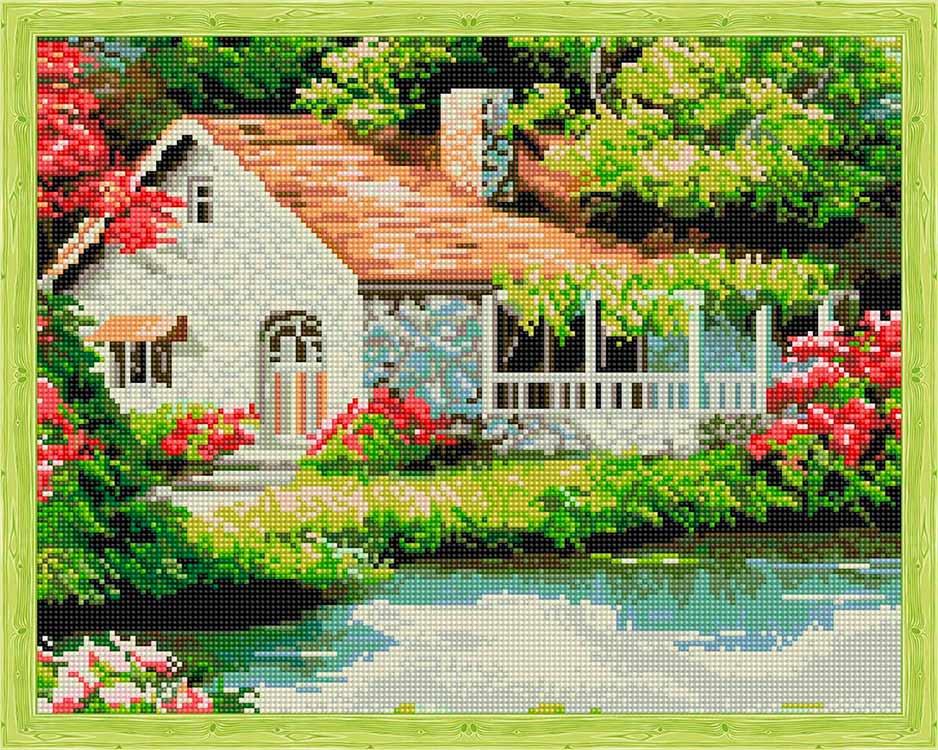 Купить Алмазная вышивка «Домик у озера», Цветной, 40x50 см, QA200015
