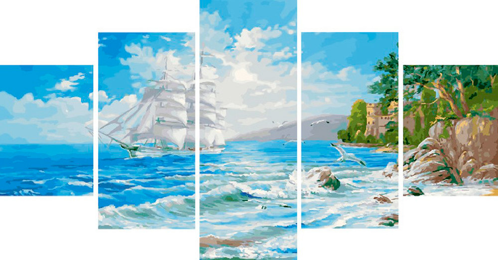 Купить Картина по номерам «Белый парусник», Paintboy (Premium), Китай, 2 шт. 30x40 и 30x60 см; 1 шт. 30x80 см, WX1108