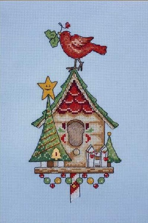 Купить Вышивка крестом, Набор для вышивания «Новогодний скворечник», Neocraft, 11x22 см, ПР-09