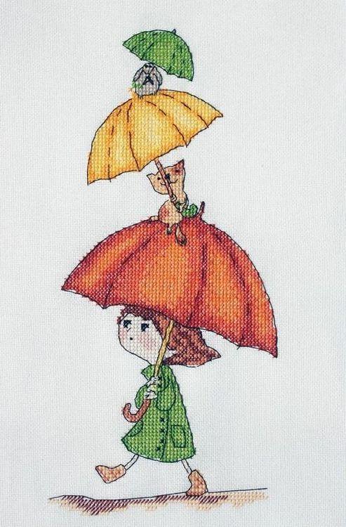 Купить Вышивка крестом, Набор для вышивания «Веселые зонтики», Neocraft, 11x24 см, РЗ-03