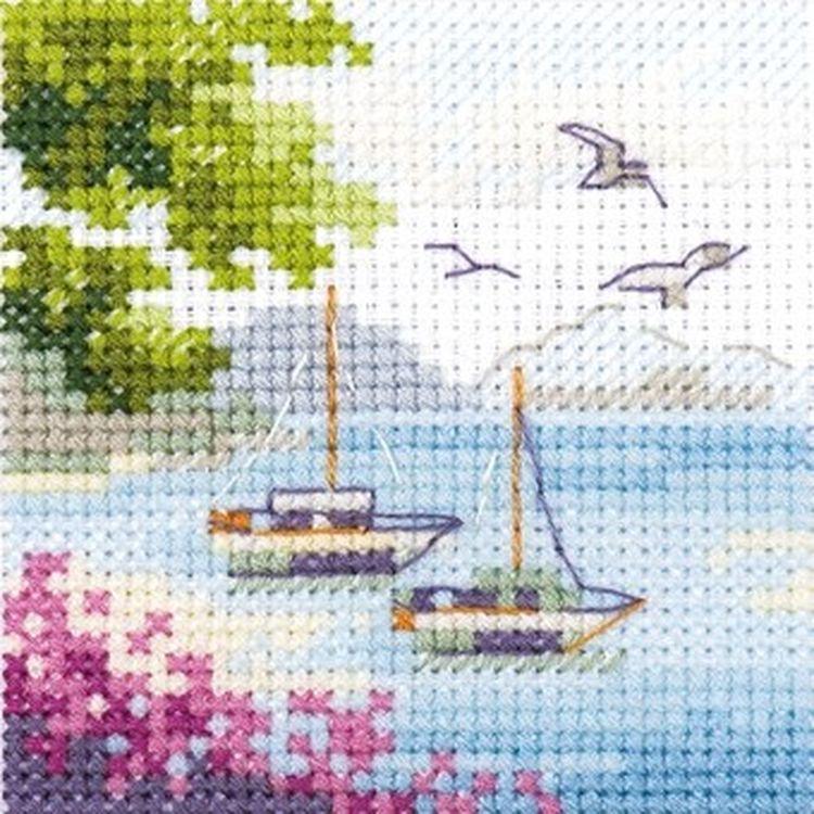Купить Вышивка крестом, Набор для вышивания «Вид на море», Алиса, 7x7 см, 0-203