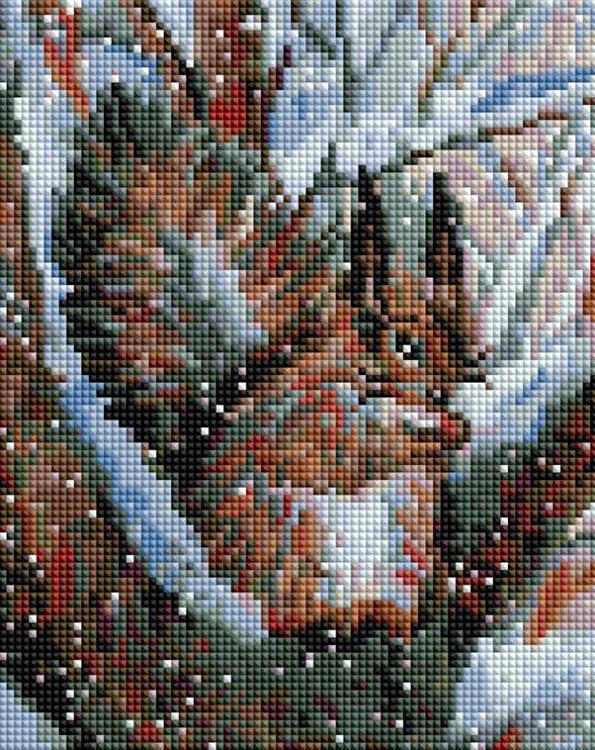 Купить Алмазная вышивка «Белочка в зимнем лесу», Белоснежка, Россия, 20x25 см, 427-ST-PS