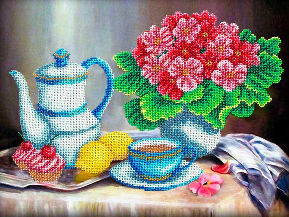 Купить Вышивка бисером, Набор вышивки бисером «Завтрак», Паутинка, 38x28 см, Б-1293