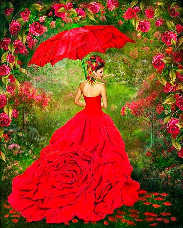 Купить Алмазная вышивка «Платье из роз», Color KIT, 40x50 см, CK015