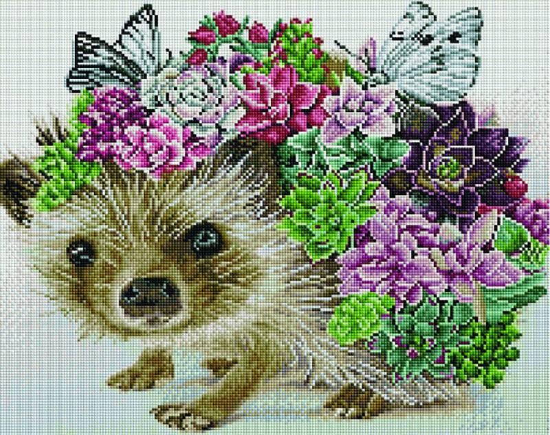 Купить Алмазная вышивка «Ежик с бабочками и цветами», Painting Diamond, 40x50 см, GF3875