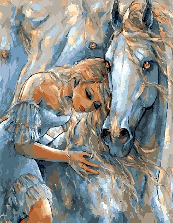 Купить Картина по номерам «Девушка и лошади», Paintboy (Premium), GX28945