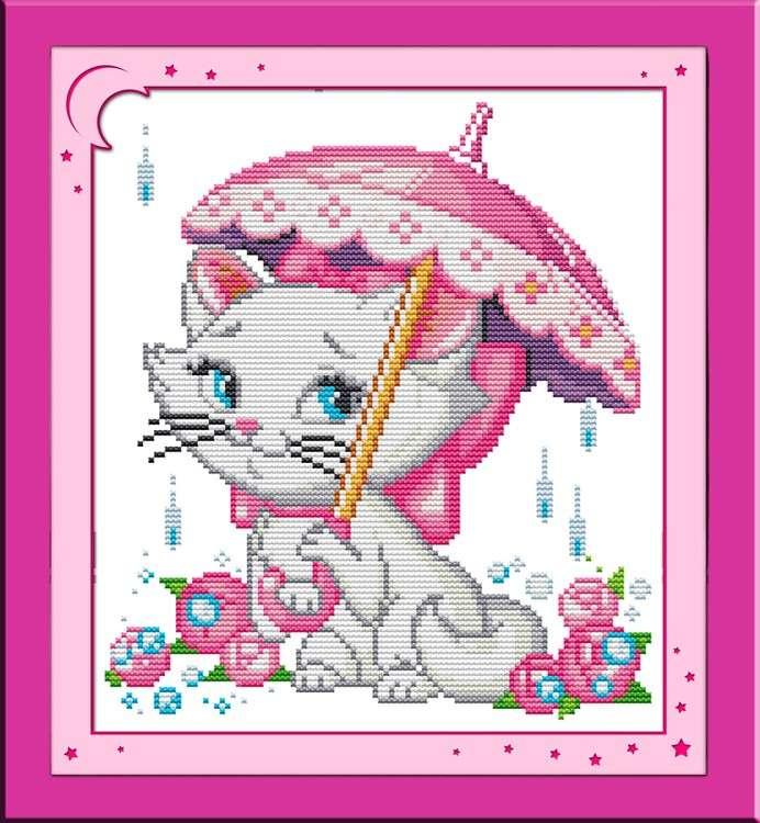 Купить Вышивка крестом, Набор для вышивания «Кошечка под зонтиком», NKF, 25x28 см, K067