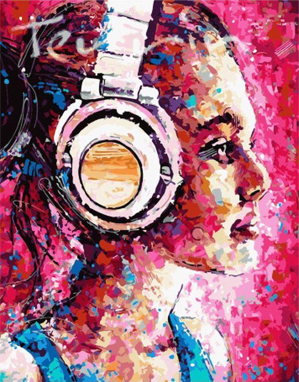 Купить Картина по номерам «Девушка в наушниках», Paintboy (Premium), PK38009