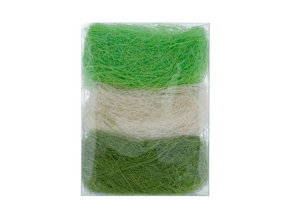 Купить Сизалевое волокно MIX, цвет: 05 белый/светло-зеленый/темно-зеленый 30 г, Blumentag, натуральное волокно, BMG-30MIX-05