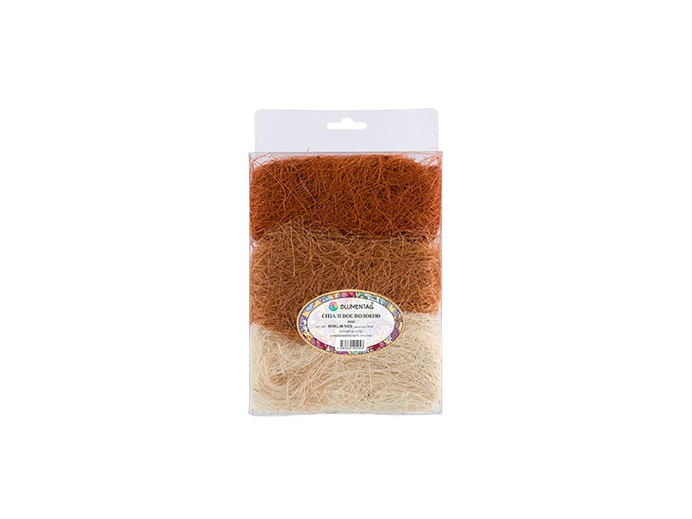 Купить Сизалевое волокно MIX, цвет: 06 белый/светло-коричневый/коричневый 30 г, Blumentag, натуральное волокно, BMG-30MIX-06